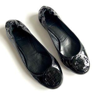 Tory Burch black leather patent flats